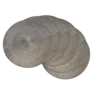 Indoor/ Outdoor Round Woven Metallic Placemat Set of 6