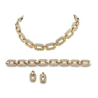 PalmBeach Goldtone Crystal 3-piece Jewelry Set Bold Fashion