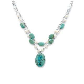Silvertone Naturalist Turquoise and Pearl Jewelry Set
