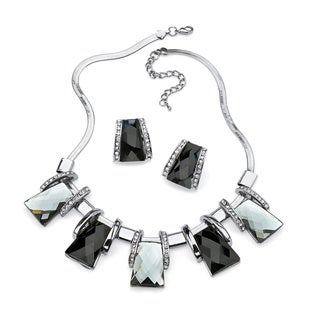 PalmBeach Silvertone Bold Fashion Black and Silver Crystal Jewelry Set