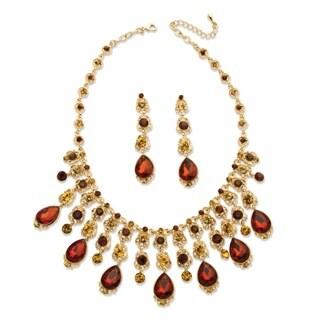 PalmBeach Goldtone Bold Fashion Smoky Crystal Jewelry Set