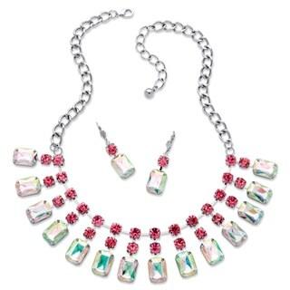 Silvertone Bold Fashion Crystal Jewelry Set