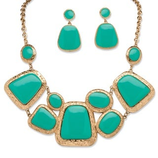 PalmBeach Goldtone Bold Fashion Caribbean Blue Jewelry Set