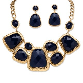 PalmBeach Goldtone Bold Fashion Navy Jewerly Set
