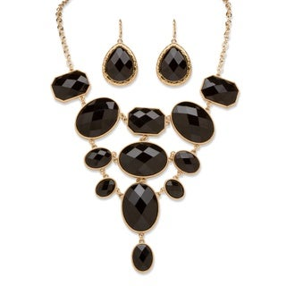 PalmBeach Goldtone Bold Fashion Black Jewelry Set