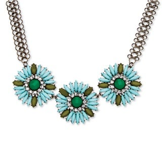PalmBeach Black-plated Bold Fashion Flower Crystal Jewelry Set