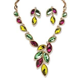 Goldtone Bold Fashion Marquise Crystal Jewelry Set