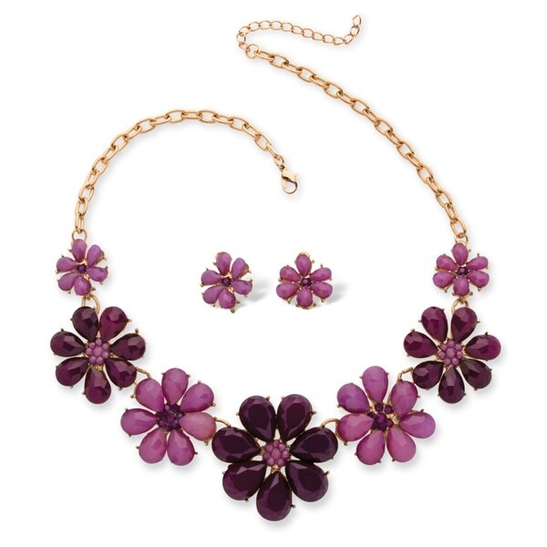 Goldtone Bold Fashion Flower Jewelry Set