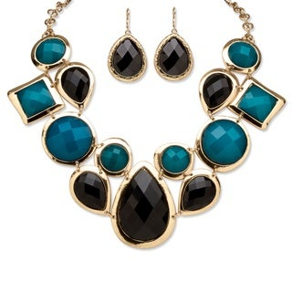 PalmBeach Goldtone Bold Fashion Black and Teal Jewelry Set