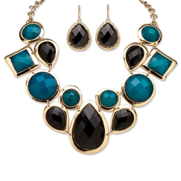 Goldtone Bold Fashion Black and Teal Jewelry Set