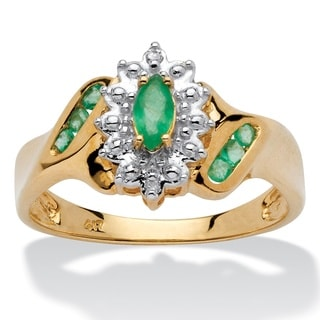 10k Yellow Gold 3/8ct Marquise-cut and Round Genuine Emerald Diamond Accent Ring