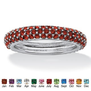 Color Fun Sterling Silver Pave-Set Birthstone 3-row Eternity Band Ring