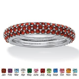 Color Fun Sterling Silver Pave-Set Birthstone 3-row Eternity Band Ring|https://ak1.ostkcdn.com/images/products/10510667/P17581748.jpg?impolicy=medium