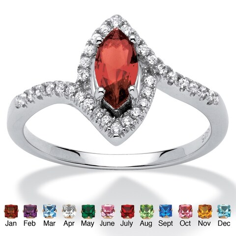 Color Fun Sterling Silver Marquise-cut Birthstone and Cubic Zirconia Ring