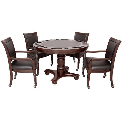 Bridgeport 2-in-1 Poker Table Set with Four Arm Chairs- Walnut Finish