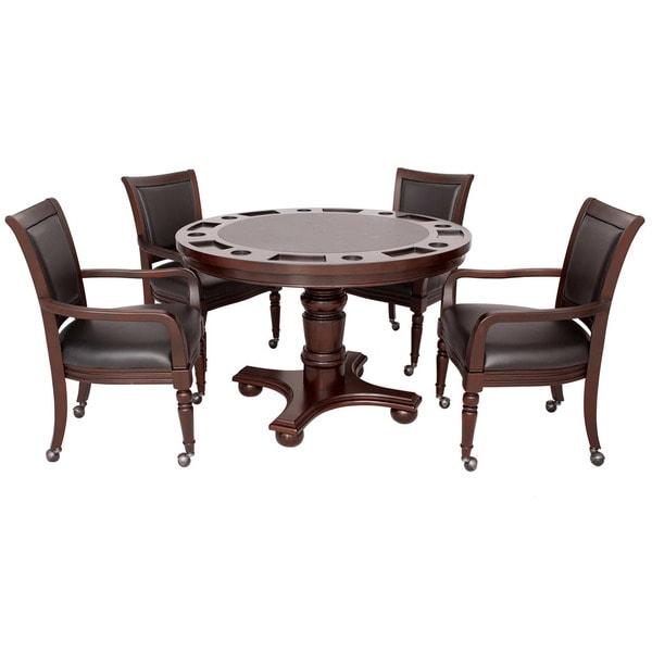 Bridgeport 2-in-1 Walnut Finish Poker Game Table Set