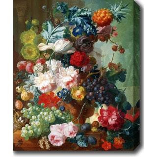 Jan van Os 'Fruit and Flowers in a Terracotta Vase' Oil on Canvas Art