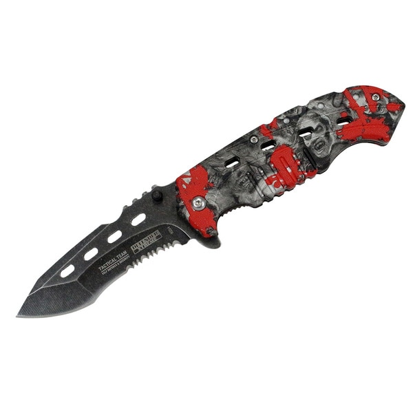 8-inch Defender Xtreme Serrated Spring Assisted Knife with Belt Clip