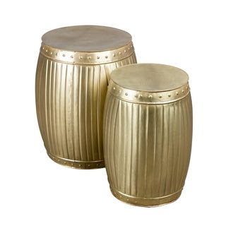 Set of 2 Brass Fluted Round Barrels (India)