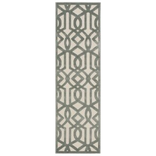 Nourison Ultima Ivory Aqua Runner Rug (2'2 x 7')
