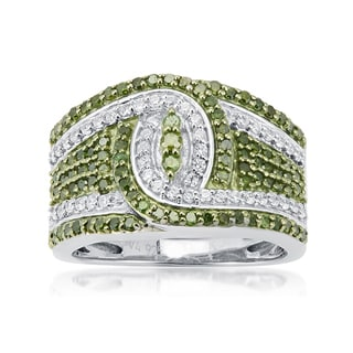 Sterling Silver 1.00ct TDW Green and White Diamond Knot Ring (H-I, I2-I3)