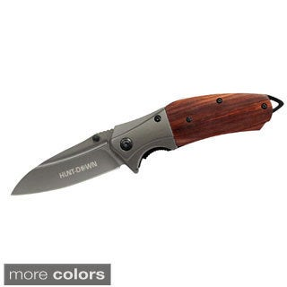 9-inch Hunt-Down Spring Assisted Wood Handle Knife with Belt Clip