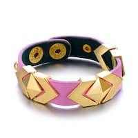 Alberto Moore Pink Vegan Leather Goldtone Metal Pyramid Cuff Bracelet