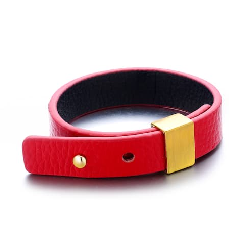 Genuine Red Leather Goldtone Accent Buckle Cuff