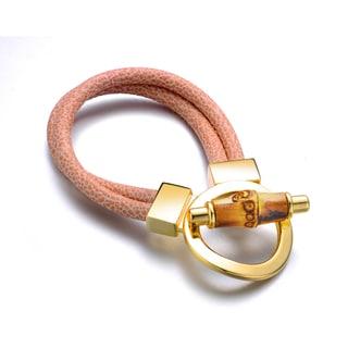 Alberto Moore Khaki Geunine Leather Goldtone Turn-lock Cuff Bracelet