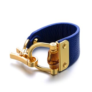 Blue Genuine Leather Goldtone Turn-lock Cuff Bracelet