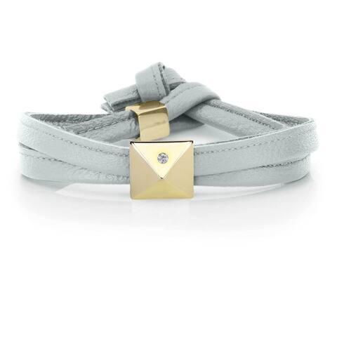 Alberto Moore Soft Silver Genuine Leather Goldtone Pyramid Stud Wrap Bracelet