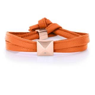 Alberto Moore Orange Genuine Leather Rose Goldtone Pyramid Stud Wrap Bracelet