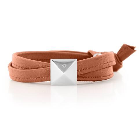 Alberto Moore Luggage Brown Genuine Leather Silvertone Pyramid Stud Wrap Bracelet