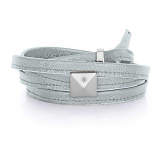 Soft Silver Genuine Leather Silvertone Pyramid Stud Multi-wrap Bracelet
