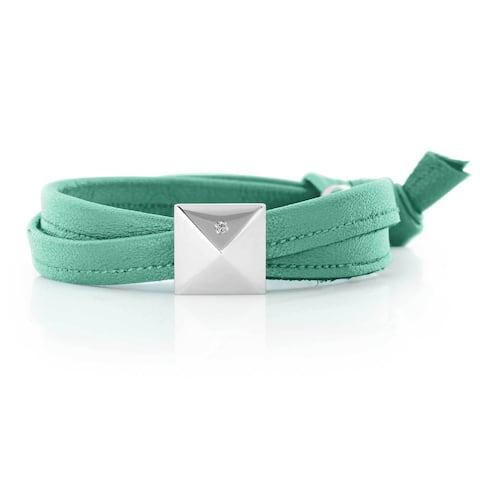 Alberto Moore Soft Aqua Blue Genuine Leather Silvertone Pyramid Stud Wrap Bracelet