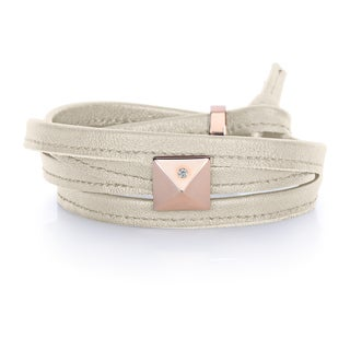 Alberto Moore Pearl Grey Genuine Leather Rose Goldtone Pyramid Stud Multi-wrap Bracelet