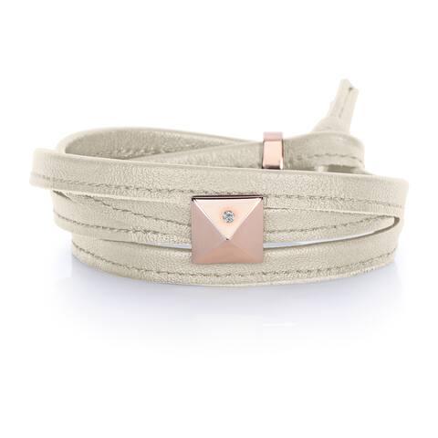 Alberto Moore Pearl Grey Genuine Leather Rose Goldtone Pyramid Stud Multi-wrap Bracelet