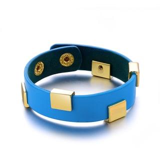 Trendy Blue Vegan Letaher Goldtone Metal Stud Cuff