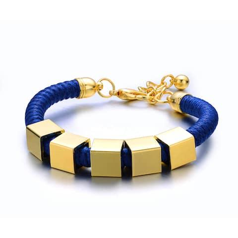 Alberto Moore Luggage Blue Vegan Leather Goldtone Metal Accent Shredded Single-strand Cuff Bracelet