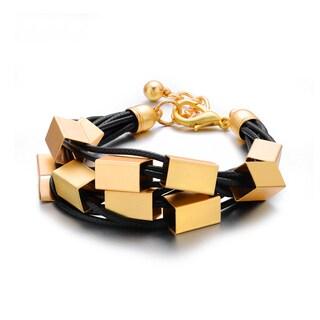 Alberto Moore Trendy Black Vegan Leather Goldtone Metal Shredded Strand Cuff Bracelet
