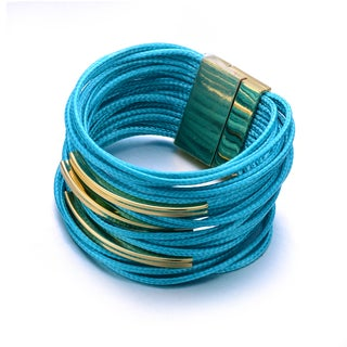 Topaz Blue Shredded Vegan Leather Yellow Goldtone Accent Multi-strand Wrap Cuff