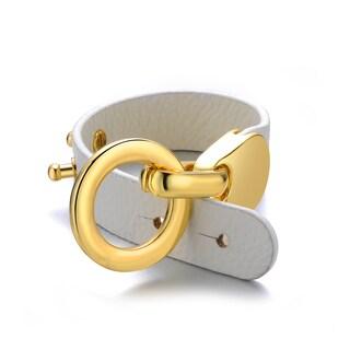Alberto Moore White Genuine Leather Goldtone Turn-lock Cuff Bracelet