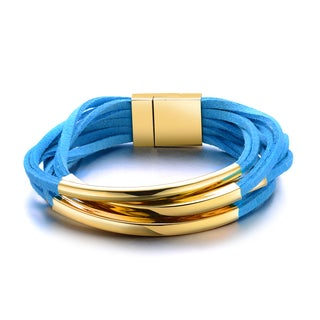 Alberto Moore Topaz Blue Shredded Vegan Leather Goldtone Accent Tripple Wrap Bracelet