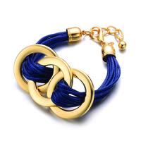 Alberto Moore Blue Vegan Leather Goldtone Round Link Cuff Bracelet