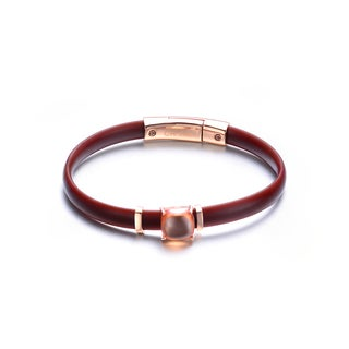 Alberto Moore Silicon and Rose-plated Sterling Silver Brown Rubber Champagne Cubic Zirconia Bracelet
