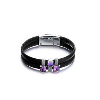 Alberto Moore Rhodium-plated Sterling Silver Black Rubber Purple Cubic Zirconia Bracelet