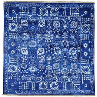 Wool and Rayon from Bamboo Silk Square Tabriz Hand Knotted Oriental Rug (6' x 6')