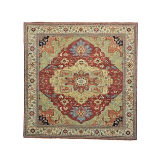 Square Antiqued Heriz Recreation Hand Knotted Rug (9'9 x 10')