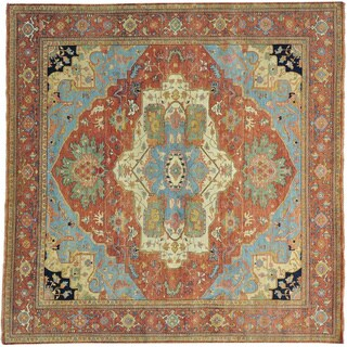 Square Antiqued Heriz Recreation Hand Knotted Oriental Rug (10' x 10')