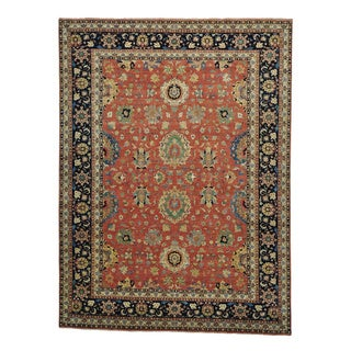 Antiqued Tabriz Rust Red Hand Knotted Oriental Rug (9' x 12')